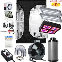"""Hydro Plus 48""""x36""""x72"""" 2-in-1 Grow Tent Complete Kit + LED 6"""