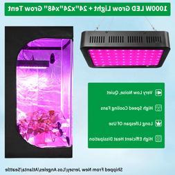 1000W Led Grow Light Kit Full Spectrum +2' x 2' Hydroponic I