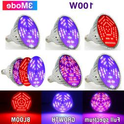 100W Dimmable LED Grow Light Full Spectrum Bloom Growth 3 Mo