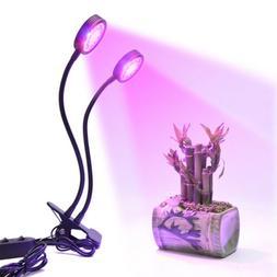 16W Dual Head LED Grow Light For Indoor Plants Hydroponics G