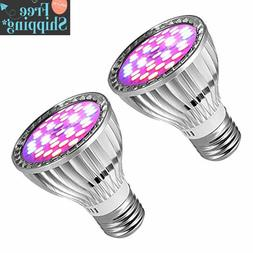 2 Pack LED Grow Light Bulbs,7 W E27 Base Plant Light Bulb wi