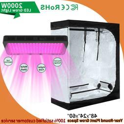 2000W Led Grow Light Kit w/ 4'x2' Hydroponic Indoor Grow Ten