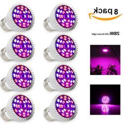 28W LED Grow Light Bulb E27 Full Spectrum for Garden Plant H