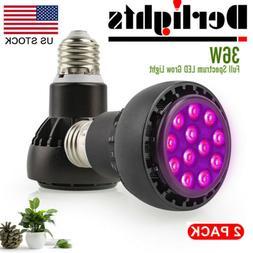 2x Derlights 36W LED Grow Light E27 Full Spectrum UV IR indo