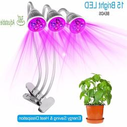 3 Head LED Grow Light Bulbs 15W Clip Plant Grow lamp for Ind