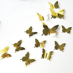Gotian 12Pcs 3D Mirror Butterfly DIY Wall Stickers Home Room