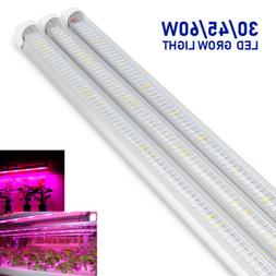 3Pack 30W 45W 60W Full Spectrum LED Grow Light T8 Tube Bar S