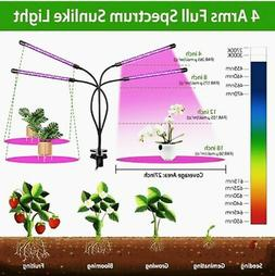 4 Head LED Grow Light with Tripod Stand for Indoor Plants