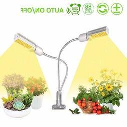 45W Dual Head LED Grow Light Bulb Desk Clip Growing Lamp For