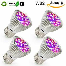 4x 28W Full Spectrum E27 E26 LED Grow Light Bulb Lamp for Ve
