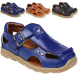 DADAWEN Boy's Girl's Athletic Summer Leather Outdoor Closed-
