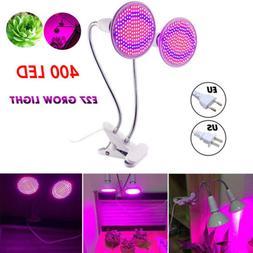 Dual Head 400 LED Plant Grow Light Bulb Desk Clip Holder Flo