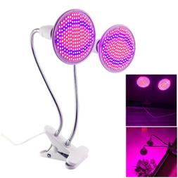 Dual Head 400 Led Plant Grow light desk clip holder bulb flo