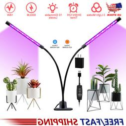 Dual Head LED Plant Grow Light Lamp Bulb Full Spectrum for I
