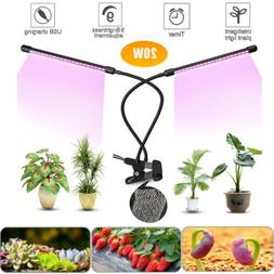 40 LED 40W Plant Grow Light Lamp Dual Head Dimmable Indoor Plants Hydroponics