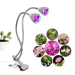 T-SUN Dual Head LED Full Spectrum Grow Lights , 10W Desk Cli