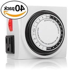 Otimo  120V Dual Outlet Mechanical 24 Hour Timer 3-Prong Plu