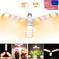 E27 414LED Grow Light Bulb Sunlike Full Spectrum Hydroponic