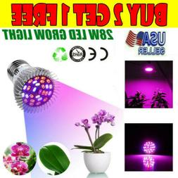 28W LED Plant Grow Light Bulbs Full Spectrum Growing Lamp Pl