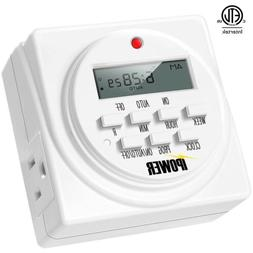 iPower 7 Day Programmable Digital Electric Timer, Dual Outle