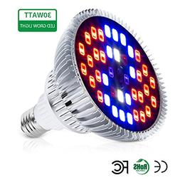 Auledio 30W Led Grow Light Bulbs Full Spectrum Plant Light L