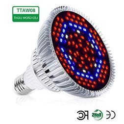 Auledio 80W Led Grow Light Bulbs Full Spectrum Plant Light L