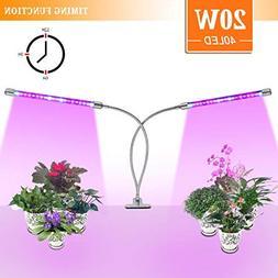 LED Grow Light 20W Dual Head Bulb Lamp 40 LEDs Growing Strip