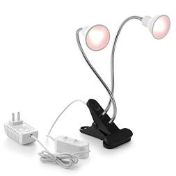 Aceple LED Grow Light New Dual Head Desk Clip Lamp Warm Whit