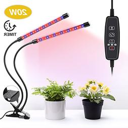 UNIWA Grow Light 20W Dual Head Plant Grow Lamp with 40 LED R