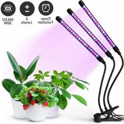 3 Head 60 LED Grow Light Full Spectrum Desk Clip Lamp Indoor