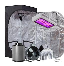 "TopoGrow 300W LED Grow Light Kit+24""x24""x48""Grow Tent+4"" Fan"