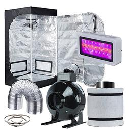 "Hydro Plus Grow Tent Complete Kit LED 300W Grow Light + 4"" F"