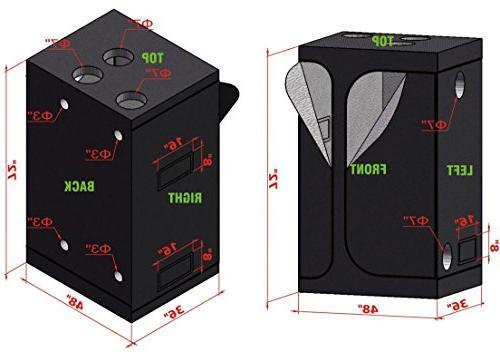 "TopoGrow 2-in-1 48""x36""x72"" Grow Tent Germination 800W Grow Kit Spectrum+ 2FT Grow Light Kit Seed +6"" Kit"