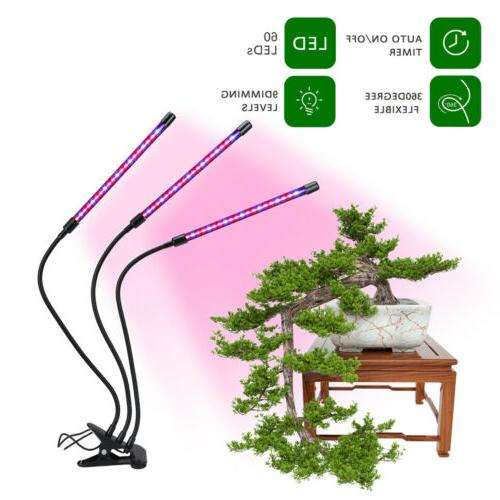 2/3 Head LED Grow Lights Adjustable Indoor Growing Hydroponics