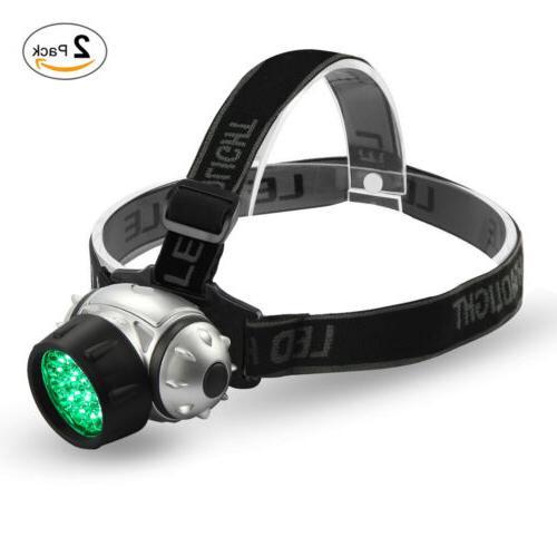 VIVOSUN 2 Packs 19 LED Headlamp Green Head Light Lamp for Gr
