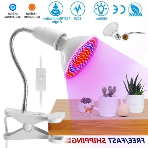 200 LEDs Red Blue Plant Grow Light Bulbs Clip Holder Flower