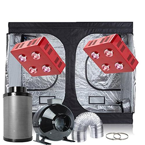 2xled grow tent complete kit