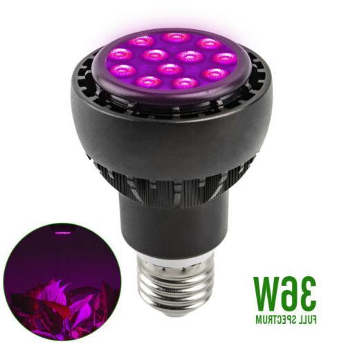 36w black e27 grow light lamp 12leds