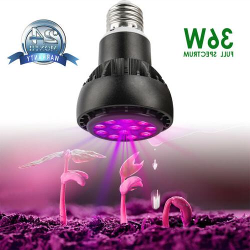 1-12pcs LEDs Full Spectrum  36W LED Grow Light Bulb E26/E27