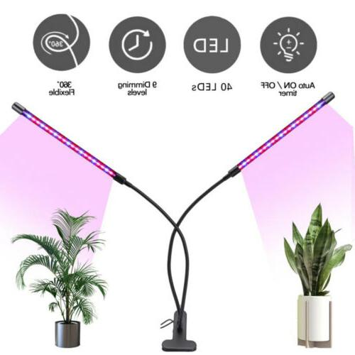 40LED Head Plant Grow Light Lamp Timing Dimming Indoor Flower