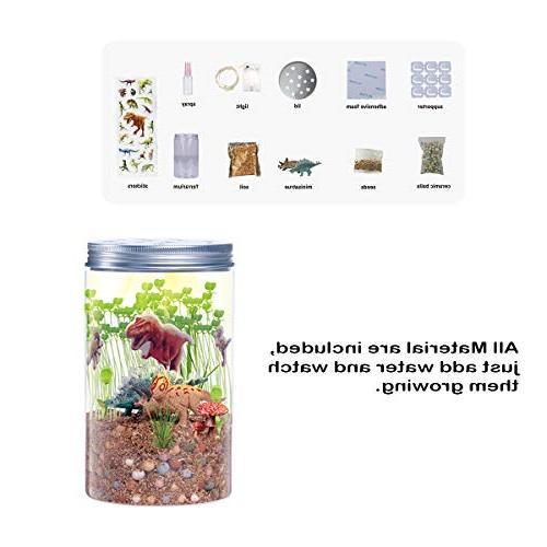 Onnetila Dinosaur Fairy Garden in a Jar Light-up Terrarium for Kids Grow and Glow STEM Educational for