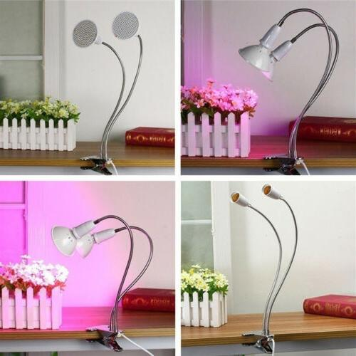 Dual Head Plant Grow Light Bulb Desk Clip Holder Greenhouse