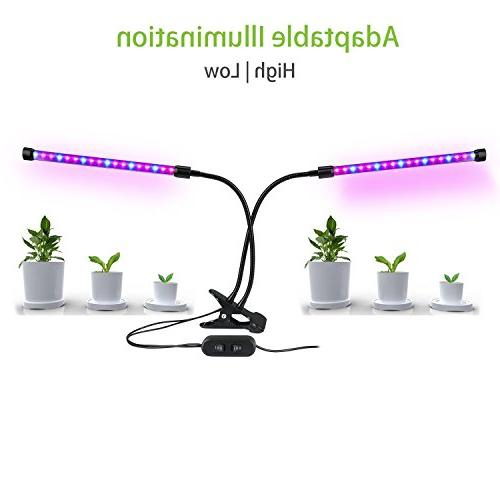 Dual LED Grow 18W Dimmable 2 Adjustable 360 Degree Gooseneck Indoor Plants Hydroponics Garden Home Office
