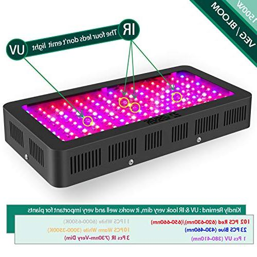 1500 LED Light Full Spectrum Veg/Bloom LED Light Fixtures Plants Daisy Chained
