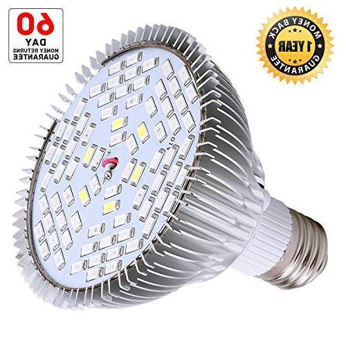 50W Led Bulb, Plant Full Spectrum for and Seedlings, LED Light Bulb Indoor Greenhouse Organic