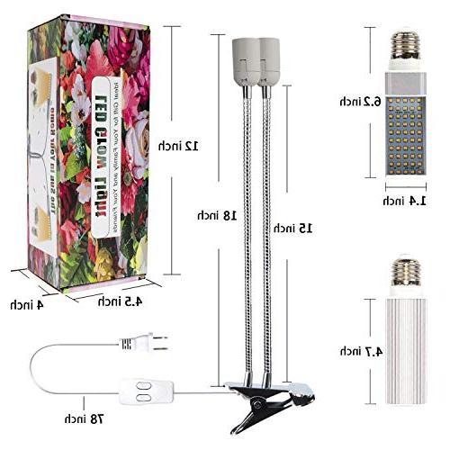KINGBO Newest 50W Grow Bulb Indoor Plants, 100 LEDs Sunlike Full Spectrum Dual Head Plant with Replaceable