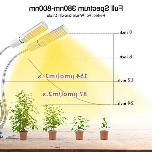 KINGBO 50W Grow Bulb Indoor 100 Spectrum White, Dual Gooseneck Plant with Replaceable Bulb