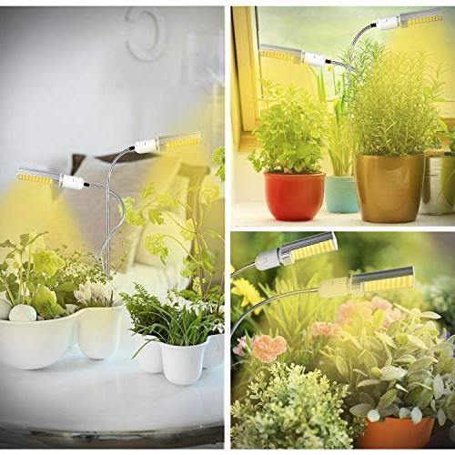 KINGBO 50W Led Grow Light Bulb for Indoor Super 100 Spectrum Grow Lamp White, Dual Gooseneck Plant Light Replaceable