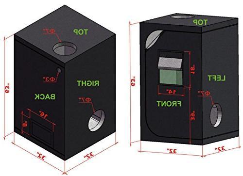 TopoGrow LED Light Grow W/Green Window for Plant Germination Hydroponics System, D-Door
