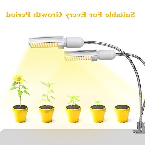 LED Grow Indoor Plant, Relassy Sunlike Full Spectrum Lamp, Dual Plant Light with Bulb, for Seedling Growing Fruiting